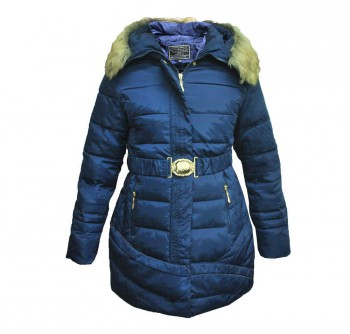 Women's Long Belted Down Jacket with Detachable Fur